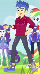 Size: 357x646 | Tagged: safe, screencap, flash sentry, rainbow dash, rarity, cheer you on, equestria girls, equestria girls series, spoiler:eqg series (season 2), blue sneakers, clothes, converse, cropped, female, male, pants, shoes, smiling