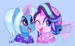 Size: 1800x1109 | Tagged: safe, artist:handgunboi, starlight glimmer, trixie, pony, unicorn, alternate hairstyle, babysitter trixie, beanie hat, cellphone, clothes, cute, diatrixes, glimmerbetes, glowing horn, hairstyle, horn, jacket, magic, outfit, pattern, phone, smartphone, telekinesis