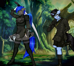 Size: 3779x3401 | Tagged: safe, artist:willymon, oc, oc only, oc:tinker doo, anthro, bat pony, blushing, boots, clothes, cosplay, costume, crossdressing, glasses, male, nier: automata, shoes, sword, weapon