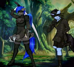 Size: 3779x3401 | Tagged: safe, artist:willymon, oc, oc only, oc:tinker doo, anthro, bat pony, blindfold, blushing, boots, clothes, cosplay, costume, crossdressing, glasses, male, nier: automata, shoes, sword, weapon
