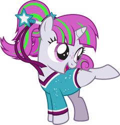 Size: 2168x2257 | Tagged: safe, artist:lightning stripe, derpibooru exclusive, oc, oc:zippi, pony, unicorn, active stretch, clothes, cute, cutie mark, female, filly, foal, freckles, gymnastics, hair bun, hairband, hairpin, horn, leotard, one leg raised, pink eyes, pink mane, ponytail, ribbon, sequins, show accurate, simple background, smiling, solo, tail bun, transparent background, vector, wand, white coat