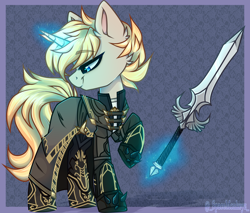 Size: 4664x3982   Tagged: safe, artist:_spacemonkeyz_, oc, oc only, oc:summerset, elf, high elf, pony, unicorn, boots, clothes, gloves, magic, male, ponified, robes, shoes, skyrim, stallion, sword, telekinesis, thalmor, the elder scrolls, weapon