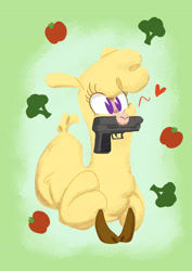 Size: 3036x4299   Tagged: safe, artist:jimmyjamno1, paprika paca, alpaca, them's fightin' herds, apple, broccoli, cloven hooves, community related, female, food, gun, heart, mouth hold, pacman eyes, weapon
