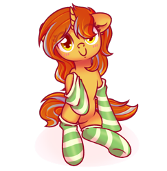 Size: 1920x1978 | Tagged: safe, artist:musicfirewind, oc, oc only, oc:cinderheart, pony, unicorn, blushing, clothes, commission, cute, female, golden eyes, horn, mare, simple background, smiling, socks, solo, striped socks, transparent background, unicorn oc, ych result