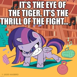 Size: 1080x1080   Tagged: safe, edit, edited screencap, screencap, twilight sparkle, alicorn, pony, my little pony: pony life, angry, barbell, book, bookshelf, caption, exercise, eye of the tiger, female, folded wings, gritted teeth, image macro, kettlebell, mare, official, push-ups, radio, rocky (movie), solo, song reference, survivor (band), sweat, text, twilight sparkle (alicorn), weight, wings, workout