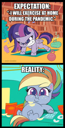 Size: 667x1317 | Tagged: safe, screencap, rainbow dash, twilight sparkle, alicorn, pegasus, pony, my little pony: pony life, angry, barbell, belly, big belly, book, bookshelf, chips, chubby cheeks, comments more entertaining, coronavirus, couch, couch potato, covid-19, crumbs, donut, double chin, exercise, expectation vs reality, fat, female, folded wings, food, food baby, gritted teeth, kettlebell, mare, missing cutie mark, obese, official, on back, overweight, part of a set, potato chips, push-ups, radio, rainblob dash, remote, sitting, slob, solo, sweat, tubby wubby pony waifu, twilight sparkle (alicorn), weight, wings, workout