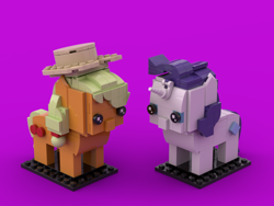 Size: 800x600 | Tagged: safe, applejack, rarity, earth pony, pony, unicorn, brickheadz, lego, legobrickheadz, toy