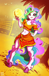 Size: 1600x2462 | Tagged: safe, artist:kp-shadowsquirrel, princess celestia, anthro, unguligrade anthro, ball, beach, belly button, elf ears, human facial structure, looking at you, midriff, smiling, solo, volleyball net