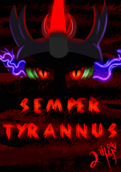 Size: 1200x1700 | Tagged: safe, artist:nighty96, king sombra, crown, dark background, glowing eyes, glowing horn, horn, jewelry, poster, regalia