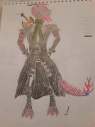 Size: 3264x2448 | Tagged: safe, artist:makarosc, oc, oc:scorch ember, anthro, dragon, fire pony, hybrid, longma, anthro oc, cigarette, clothes, horns, solo, sword, traditional art, trenchcoat, weapon