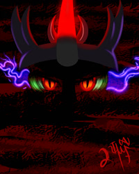 Size: 1200x1500 | Tagged: safe, alternate version, artist:nighty96, king sombra, crown, dark background, glowing eyes, glowing horn, horn, jewelry, regalia, textless