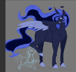 Size: 460x439 | Tagged: artist needed, source needed, safe, alicorn, earth pony, pony, fallout equestria, blue, blue alicorn (fo:e), colored, colt, cute, foe, male, painted, sketch, wip