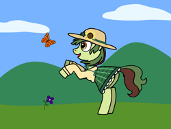 Size: 1600x1200 | Tagged: safe, artist:nebbie, oc, oc only, butterfly, earth pony, pony, butt, clothes, cloud, dress, female, flower, hat, mare, plaid, plot, rearing, skirt, solo