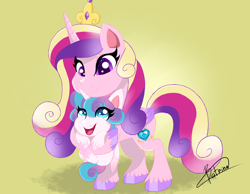 Size: 2700x2100 | Tagged: safe, artist:batrina, princess cadance, princess flurry heart, alicorn, pony, my little pony: pony life, baby, baby pony, female, high res, holding a pony, mare, mother and child, mother and daughter, simple background
