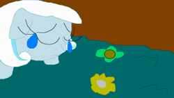 Size: 1280x720 | Tagged: safe, artist:rose80149, edit, oc, oc:snowdrop, pegasus, pony puppy, crying, sad, solo