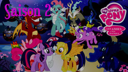 Size: 1920x1080   Tagged: safe, artist:rose80149, discord, garble, nightmare moon, princess luna, rarity, surprise, twilight sparkle, oc, oc:blitz, oc:burst, oc:dim sum, oc:topsy turvy, earth pony, pegasus, pony, unicorn, blitz, burst, french, logo, lovey blubby, mushroom, popping, royal guard, shadowbolts