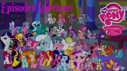 Size: 1280x720 | Tagged: safe, artist:rose80149, ace, applejack, bon bon, fluttershy, pinkie pie, princess cadance, rainbow dash, rarity, starlight, sweetie drops, twilight sparkle, oc, oc:snowdrop, alicorn, bat pony, changeling, pegasus, pony, unicorn, french, g1, g2, g3, g3.5, g4, teady