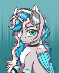 Size: 1023x1260 | Tagged: safe, artist:gitty_kitty2646, oc, oc only, alicorn, pony, abstract background, alicorn oc, chest fluff, choker, clothes, headset, horn, raised hoof, signature, socks, striped socks, wings