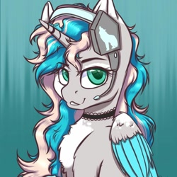 Size: 1023x1022 | Tagged: safe, alternate version, artist:gitty_kitty2646, oc, oc only, alicorn, pony, abstract background, alicorn oc, chest fluff, choker, clothes, headset, horn, raised hoof, signature, solo, wings
