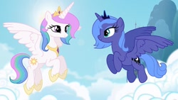 Size: 1080x607 | Tagged: safe, artist:aluramoon_, princess celestia, princess luna, alicorn, pony, cloud, crown, duo, eye contact, female, flying, hoof shoes, jewelry, looking at each other, mare, regalia, royal sisters, s1 luna, siblings, sisters, sun, young celestia, young luna, younger