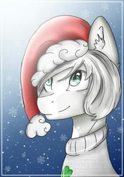 Size: 1039x1476 | Tagged: safe, artist:irinamar, oc, oc only, earth pony, pony, bust, christmas, clothes, ear fluff, earth pony oc, hat, holiday, santa hat, smiling, snow, solo