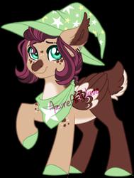 Size: 1024x1358 | Tagged: safe, artist:azure-art-wave, oc, oc:kyper belt, pegasus, pony, deer tail, female, hat, mare, simple background, solo, transparent background, watermark, witch hat