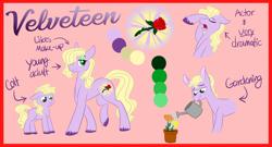 Size: 3900x2100 | Tagged: safe, artist:cartoonboyfriends, oc, oc:velveteen, pony, colt, flower, male, mouth hold, multiple parents, offspring, parent:applejack, parent:fluttershy, parent:pinkie pie, parent:rainbow dash, parent:rarity, parent:twilight sparkle, parents:omniship, reference sheet, solo, stallion, watering can