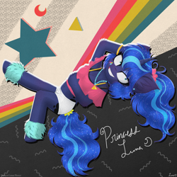 Size: 4000x4000 | Tagged: safe, artist:darkest-lunar-flower, princess luna, alicorn, anthro, unguligrade anthro, 80s, 80s princess luna, bra, bracelet, clothes, ear fluff, ear piercing, earring, female, jewelry, mare, midriff, necklace, piercing, scrunchie, shoes, solo, underwear