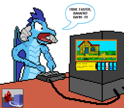 Size: 768x672 | Tagged: safe, artist:derek the metagamer, princess ember, dragon, angry, comic, dragonia, dragonia (video game), ember is not amused, keyboard, pixel art, screenshots, sinclair zx specturm, television, unamused, video game, voxel art, yelling, zx spectrum