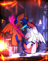 Size: 4000x5000   Tagged: safe, artist:parabellumpony, oc, oc only, oc:griffin, oc:zephyr leaf, pegasus, pony, commission, fight, flame sword, male, sword, weapon