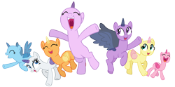 Size: 3000x1487 | Tagged: safe, artist:pegasski, oc, oc only, alicorn, pony, unicorn, the cutie re-mark, alicorn oc, bald, base, eyes closed, group, horn, jumping, open mouth, raised hoof, simple background, transparent background, underhoof, unicorn oc, wings