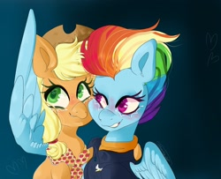 Size: 2048x1662 | Tagged: safe, artist:pineappleartz, applejack, rainbow dash, earth pony, pegasus, pony, appledash, applejack's hat, clothes, cowboy hat, female, hat, hug, jacket, lesbian, older, older applejack, older rainbow dash, shipping, winghug
