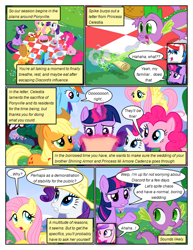 Size: 612x792 | Tagged: safe, artist:newbiespud, edit, edited screencap, screencap, applejack, fluttershy, pinkie pie, princess cadance, rainbow dash, rarity, shining armor, spike, twilight sparkle, alicorn, dragon, earth pony, pegasus, pony, unicorn, comic:friendship is dragons, comic, dialogue, dragonfire, female, flying, freckles, glowing horn, hat, horn, magic, male, mane seven, mane six, mare, open mouth, picnic, picnic blanket, raised hoof, reading, screencap comic, scroll, sitting, slit eyes, stallion, telekinesis