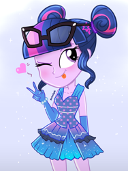 Size: 1536x2048 | Tagged: safe, artist:artmlpk, sci-twi, twilight sparkle, equestria girls, adorkable, alternate hairstyle, beautiful, clothes, cute, design, digital art, dork, dress, female, gloves, hair bun, hairpin, heart, looking up, simple background, smiling, solo, tongue out, twiabetes, watermark, white background