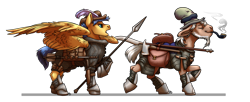Size: 3417x1393 | Tagged: safe, artist:gonedreamer, flash sentry, mr. greenhooves, earth pony, pegasus, armor, axe, bag, gambeson, mace, pipe, scythe, simple background, smoking, spear, weapon, white background