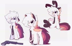 Size: 2382x1518 | Tagged: safe, artist:little-sketches, oc, oc:ayaka, pegasus, pony, bunny ears, eye clipping through hair, female, gun, handgun, necktie, pistol, weapon