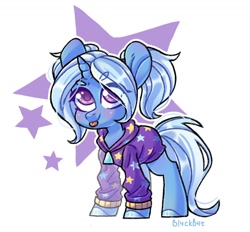 Size: 1490x1384 | Tagged: safe, artist:bi4ckb4t, trixie, pony, unicorn, :p, alternate hairstyle, babysitter trixie, clothes, colored hooves, colored pupils, cute, diatrixes, eye clipping through hair, female, gameloft, gameloft interpretation, hoodie, mare, pigtails, simple background, solo, starry eyes, stars, tongue out, white background, wingding eyes