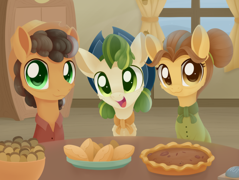 Size: 1569x1185 | Tagged: safe, artist:dusthiel, butternut, oak nut, pistachio, earth pony, pony, best gift ever, :3, acorn, cheek fluff, chest fluff, cowboy hat, cute, ear fluff, family, featured image, female, food, hat, looking at you, male, mare, open mouth, pie, smiling, stallion, stetson