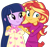 Size: 1024x967 | Tagged: safe, artist:emeraldblast63, sunset shimmer, twilight sparkle, human, equestria girls, clothes, pajamas, simple background, transparent background