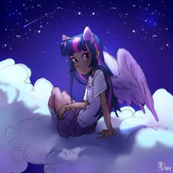 Size: 1080x1080 | Tagged: safe, artist:mmmmuda, twilight sparkle, alicorn, human, clothes, cloud, eared humanization, humanized, looking at you, on a cloud, pony ears, shirt, shooting star, sitting, sitting on cloud, skirt, socks, solo, stars, twilight sparkle (alicorn), winged humanization, wings
