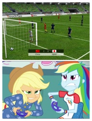 Size: 3106x4096 | Tagged: safe, edit, edited screencap, screencap, applejack, rainbow dash, equestria girls, rainbow rocks, football, sports, video game