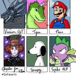 Size: 569x569 | Tagged: safe, artist:arts_trae, spike, anthro, dog, dragon, human, six fanarts, alice in wonderland, bust, clothes, crossover, facial hair, game of thrones, hat, mad hatter, mario, moustache, open mouth, overalls, partial nudity, smiling, snoopy, topless, viserion, winged spike