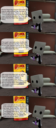 Size: 1920x4320 | Tagged: safe, artist:soad24k, oc, oc:head bag, earth pony, pony, 3d, bonk! atomic punch, clothes, gmod, paper bag, paper bag support group, scout, soda, speech bubble, suit
