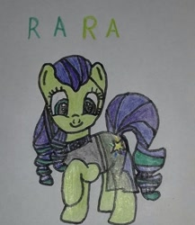 Size: 561x646 | Tagged: safe, artist:electric spark, coloratura, earth pony, pony, cute, female, mare, one hoof raised, rara, rarabetes, simple background, smiling, text, traditional art, white background