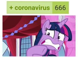 Size: 1269x931 | Tagged: safe, screencap, twilight sparkle, alicorn, pony, derpibooru, between dark and dawn, 666, coronavirus, meta, scared, solo, tags, twilight sparkle (alicorn), twilighting
