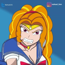 Size: 2048x2048 | Tagged: safe, artist:nando13, adagio dazzle, human, equestria girls, clothes, cosplay, costume, fangs, grin, human coloration, sailor moon, sailor moon redraw meme, serena tsukino, smiling, solo, tsukino usagi
