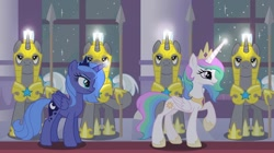 Size: 1080x606 | Tagged: safe, artist:aluramoon_, princess celestia, princess luna, alicorn, pony, armor, female, glowing horn, helmet, hoof hold, hoof shoes, horn, indoors, jealous, jewelry, magic, male, mare, royal guard, s1 luna, siblings, sisters, spear, stallion, telekinesis, tiara, weapon, young celestia, young luna, younger
