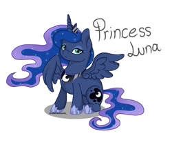 Size: 1080x920 | Tagged: safe, artist:aluramoon_, princess luna, alicorn, pony, ethereal mane, female, hoof shoes, jewelry, mare, peytral, simple background, sitting, solo, starry mane, text, tiara, white background
