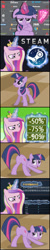Size: 647x3267 | Tagged: safe, edit, edited screencap, editor:wangkingfun, screencap, princess cadance, twilight sparkle, alicorn, pony, unicorn, a canterlot wedding, the ticket master, female, game, money, steam (software)