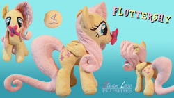 Size: 1280x720 | Tagged: safe, artist:steam-loco, fluttershy, butterfly, pegasus, cute, cutie mark, embroidery, female, irl, magnet, photo, plushie, solo